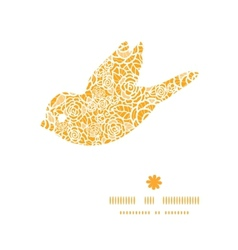 golden lace roses bird silhouette pattern frame vector image vector image