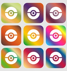 pokeball icon sign Nine buttons with bright vector image