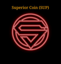 Red neon superior coin sup cryptocurrency symbol vector