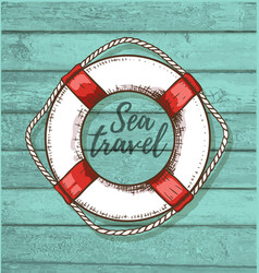 travel background with lifebuoy vector image vector image