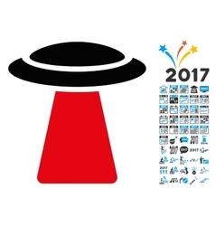 Ufo Ray Icon with 2017 Year Bonus Symbols vector image vector image