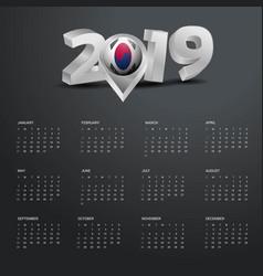 2019 calendar template grey typography with korea vector