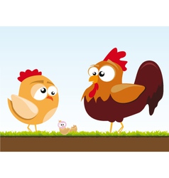 A chicken and a rooster vector