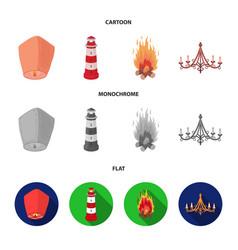 A light lantern a lighthouse a fire a vector