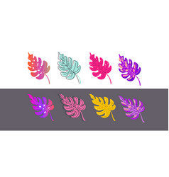a set different color options leaves drawn in a vector image