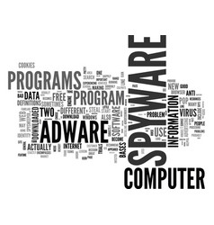 Adware spyware text word cloud concept vector