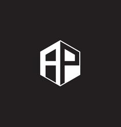 Ap logo monogram hexagon with black background vector