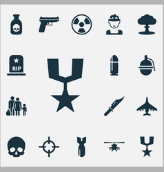 Army icons set collection of chopper rip order vector