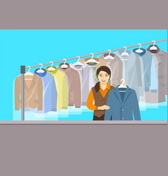 Asian girl at reception of dry cleaning shop vector