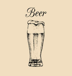 Beer glass isolated hand drawn sketch of ale vector