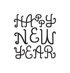 black happy new year lettering vector image