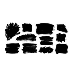 black paint ink brush strokes and shapes vector image
