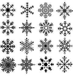 Black Snowflakes Silhouette Collections vector image