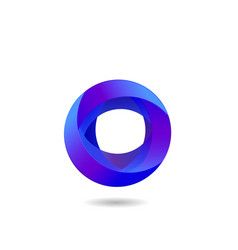 blue abstract circle shape artistic logo icon vector image