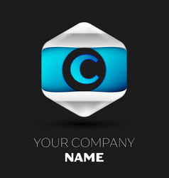 blue letter c logo in the silver-blue hexagonal vector image
