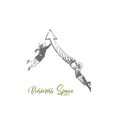 Business space suit arrow people fly vector