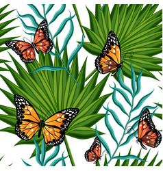 Butterflies and leaves palm trees vector