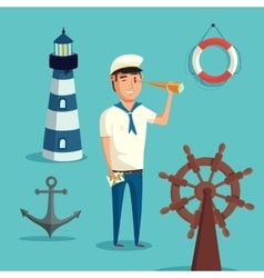Captain or sailor with spyglass and lighthouse vector image