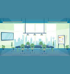 Cartoon color conference hall business inside vector