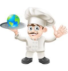Chef globe concept vector