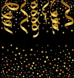 Christmas background with gold streamers and star vector