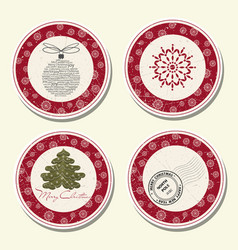christmas labels collection vector image