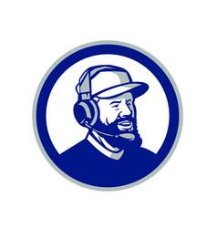 Coach with beard and headphones circle retro vector