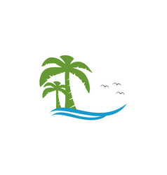 coconut tree at sea logo vector image