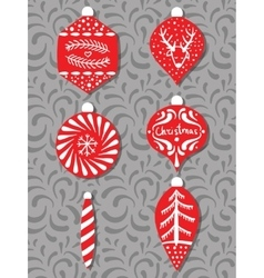 Collection of stylized Christmas tree decorations vector image