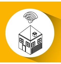 Connection wifi house icon vector
