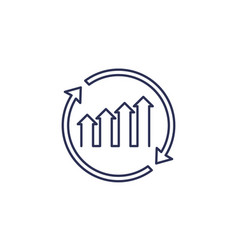 Continuous growth icon line on white vector