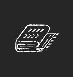 Cuddly blanket chalk white icon on black vector