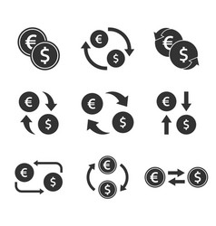 Currency exchange icon set dollar and euro cash vector