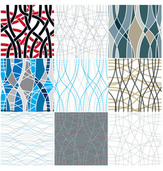 curve wavy lines seamless patterns set repeat vector image