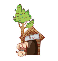 Cute animals puppy dog sitting house tree cartoon vector
