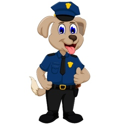 cute police dog cartoon thumb up vector image