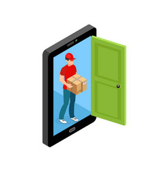 delivery door screen concept vector image