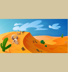 desert dune with golden sand animal skull cacti vector image
