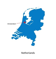 Detailed map of Netherlands and capital city vector