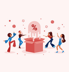 Discount sales offers celebration in store shop vector