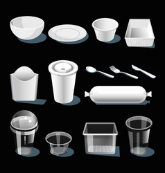 Disposable tableware made of white and transparent vector