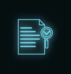 document search neon icon web development icon vector image