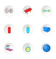 Exercise in gym icons set cartoon style vector