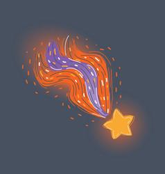 Falling star on dark background vector
