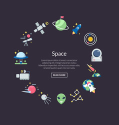flat space icons in circle shape with place vector image