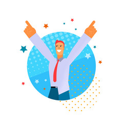 flat young happy man hands up for joy vector image