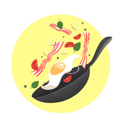 Flipping fry egg in a pan vector