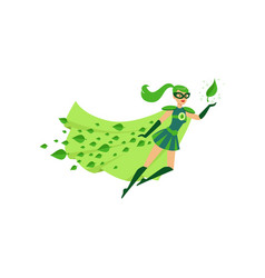 Flying eco superhero female in costume vector