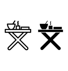Folding table with dinner line and glyph icon vector