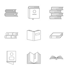 Folio icons set outline style vector